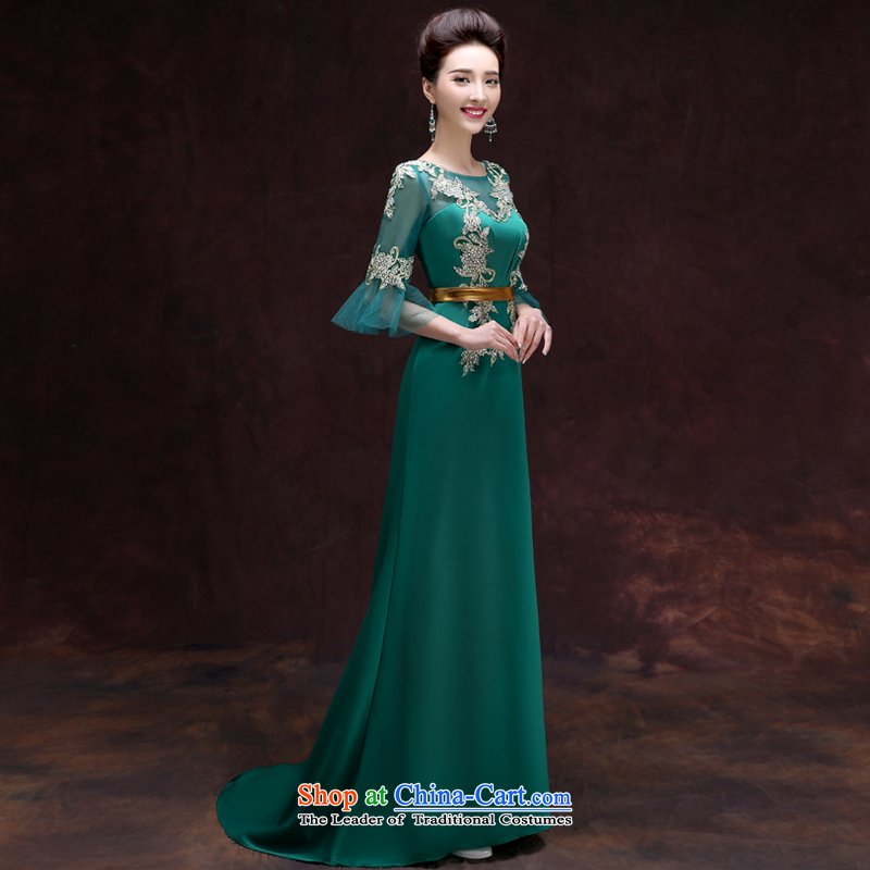The privilege of serving the new 2015-leung, Banquet Toastmaster of dress long stylish bridesmaid dresses skirt the girl with dark green uniforms�2XL