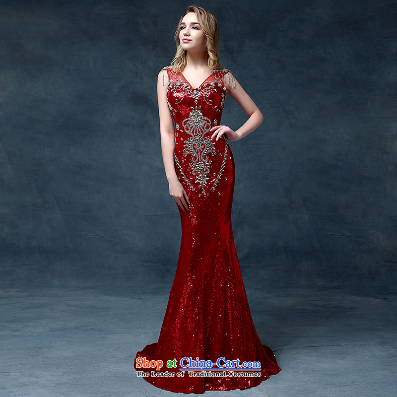 According to Lin Sa high-end luxury crystal dress Korean Korean dress marriages bows dress code are Red Dress