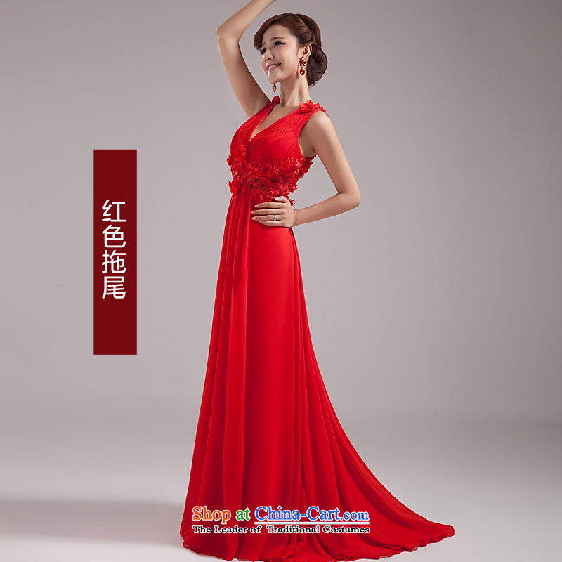2015 new bride toasting champagne evening dress uniform long red dress marriage is exposed annual dresses female Red Tail?L