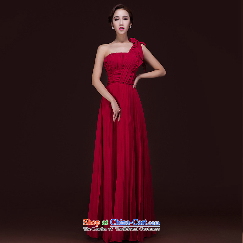 Ho full Chamber 2015 new bride bridesmaid wedding dress marriage bows service long Single Twine Bow Knot shoulder dress wine red?S