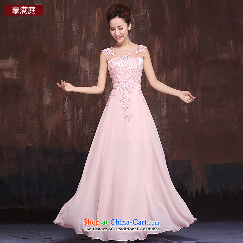 Marriages pink long shoulders bows services bridesmaid services 2015 stylish temperament Lace Embroidery and long skirt pink?S