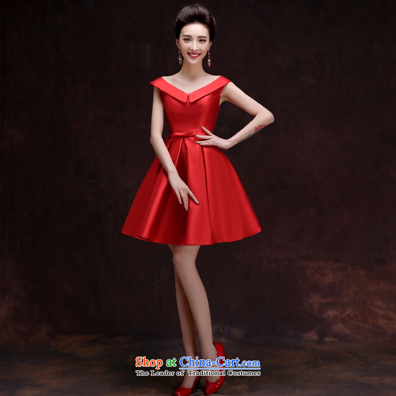 The privilege of serving-leung 2015 summer short of New Red slotted shoulder bridesmaid to serve small in female dress and sisters into wine service Red?2XL