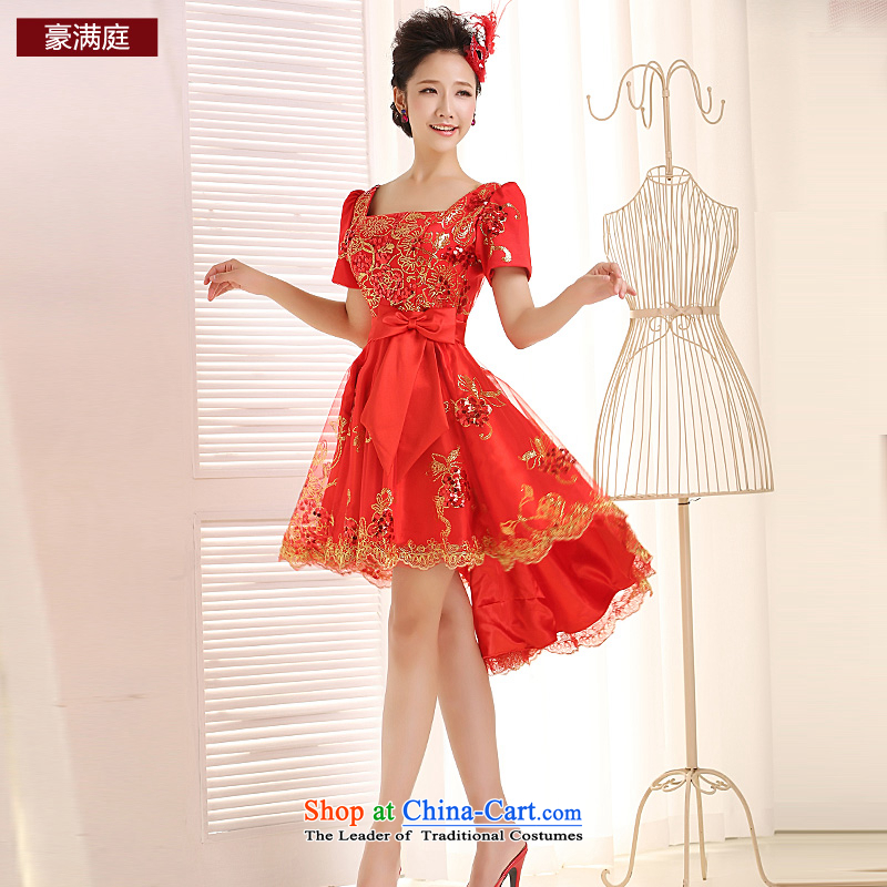 Ho full Chamber 2015 new red bows services before marriage after a short length of lace bridal dresses small bubbles skirt cuff red?L