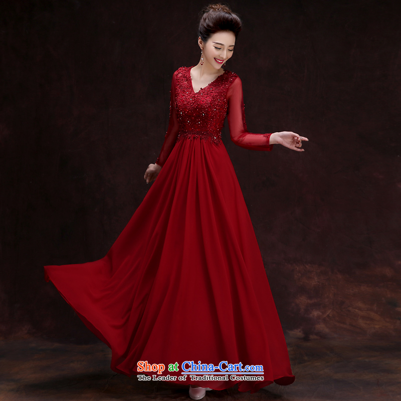 The privilege of serving-leung 2015 Red new wedding dress and sexy engraving long evening dresses banquet moderator dress long�2XL