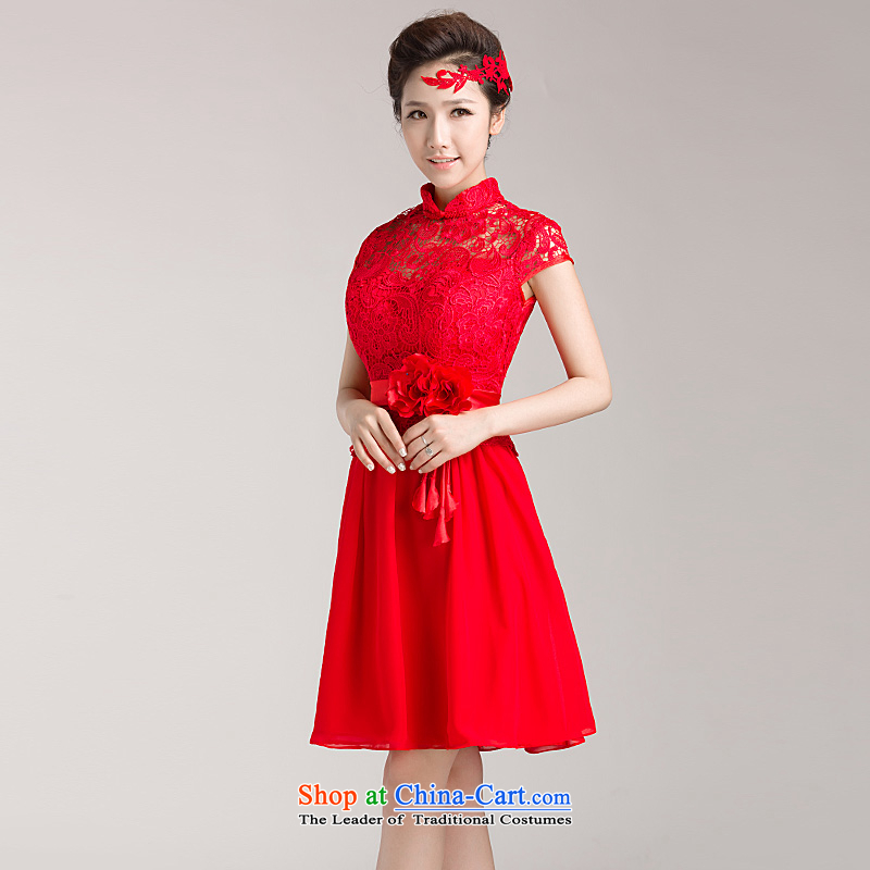 Ho full Chamber 2015 new marriages bows services red) Wedding dress lace qipao short-sleeved red?S