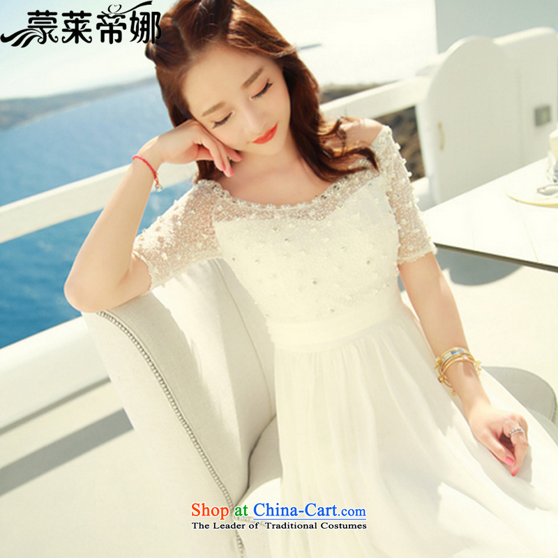 The 2015 Dili Blair Monrovia summer new dress string nail pearl chiffon lace dresses summer Bohemia long skirt beachfront resort beach skirt 6030 White?S