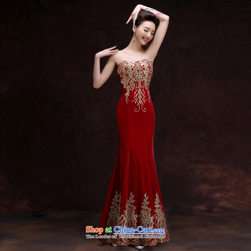 The privilege of serving-leung 2015 new bride red marriage and chest dress banquet party support people long gown female long?L