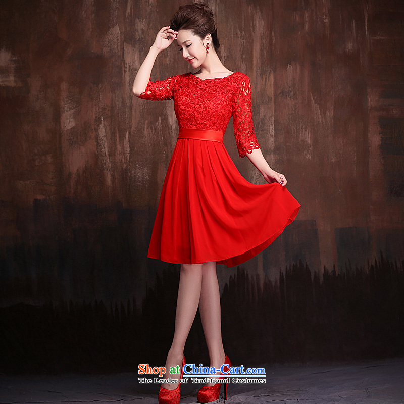 Ho full Chamber Red 7 cuff marriages bows services 1 evening dresses shoulder Sau San lace short, bridal red?L