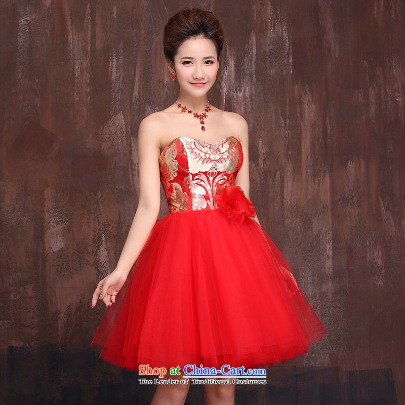Marriages bows services wedding dresses 2015 new red short, bon bon skirts and chest dress bridesmaid Services Mr Ronald RED?M