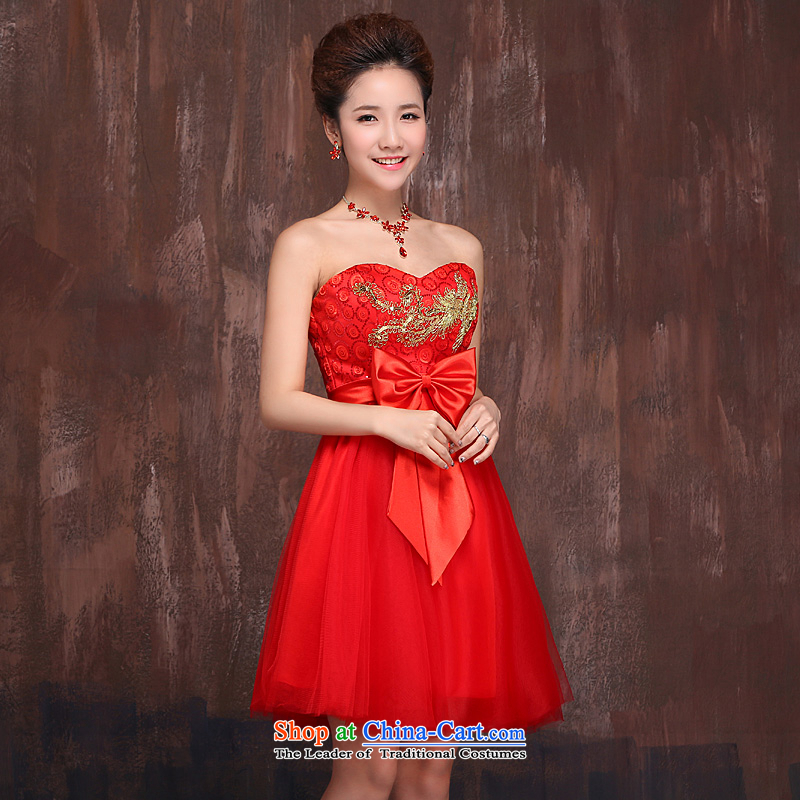 Ho full Chamber marriages bows services red, bon bon skirt Phoenix embroidered Bow Ties With chest dress red L