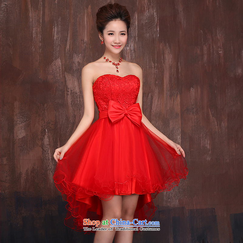 The bride front stub long after serving red 2015 followed the spring and summer months new wedding dress bridesmaid Sau San tie evening RED?M