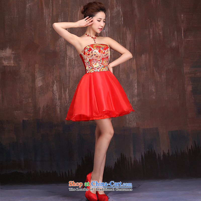 Ho full Chamber marriages bows services during the spring and autumn 2015 New Red Dress cheongsam dress short skirts theme Phoenix Red?XL