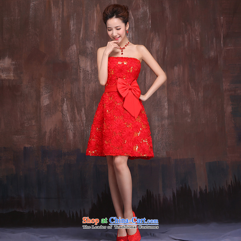 Wedding dresses in spring and autumn 2015 new marriages red short) bows services embroidery lace strap dress red?XL