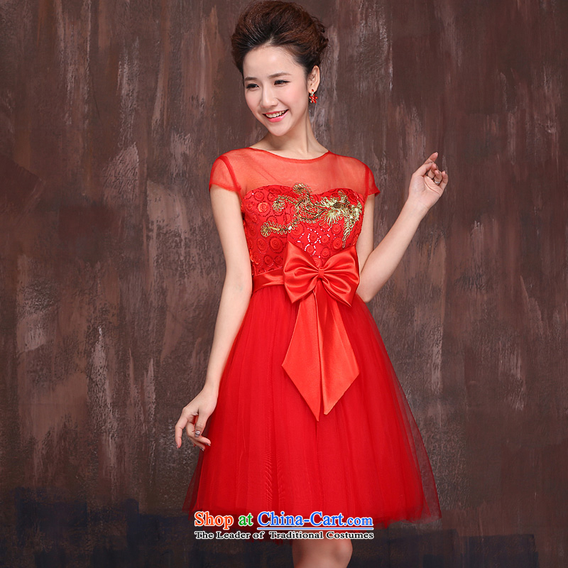 Red short of marriages bows Services?2015 Spring/Summer New Kim embroidered Bong-engraving shoulders qipao gown RED?M