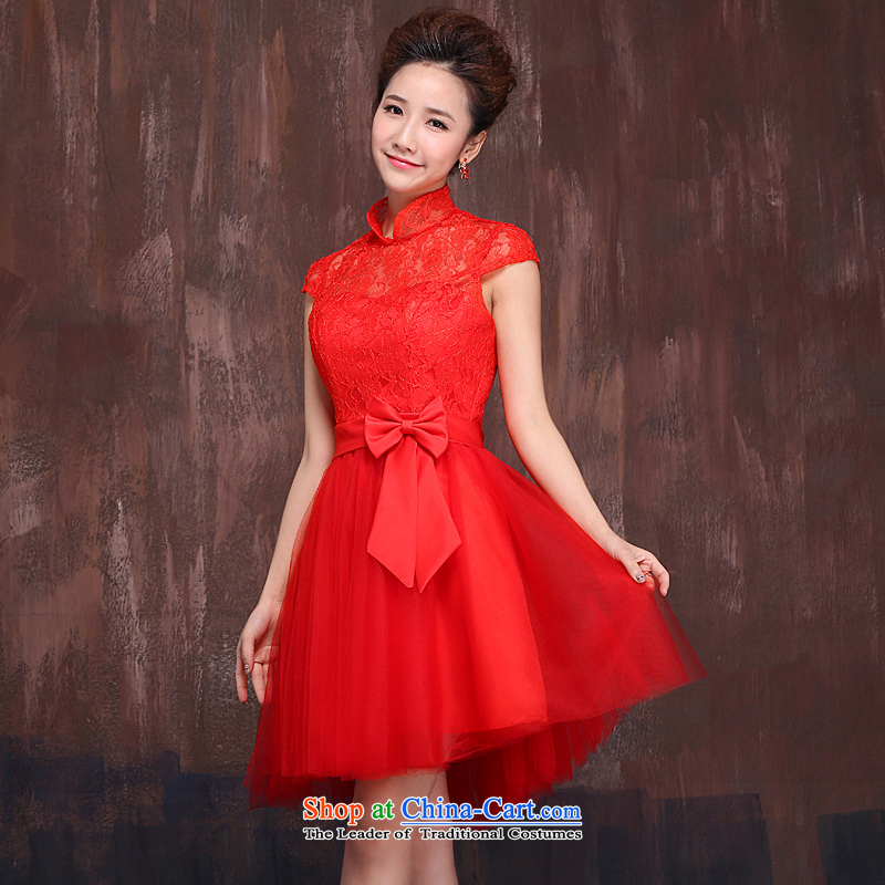 Red short of marriages bows Services?2015 Spring/Summer new lace flowers dress qipao Bow Tie RED?M