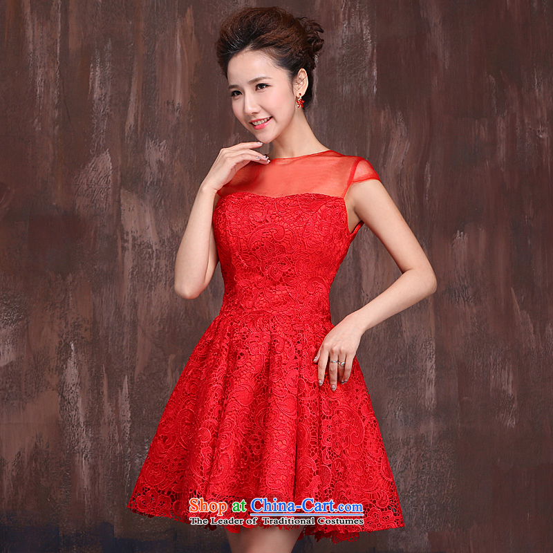 Red short of marriages bows services wedding dresses 2015 Spring/Summer new lace cheongsam dress red flowers?L