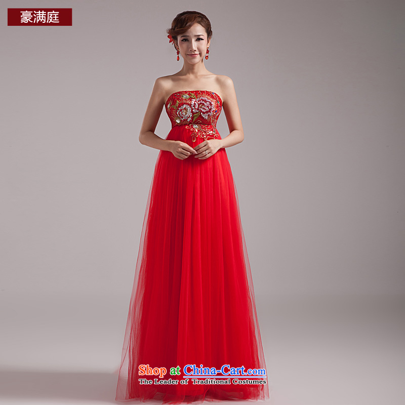 Ho full Chamber 2015 new red long gown Korean bridal lace marriage evening dress uniform high waist bows red?S