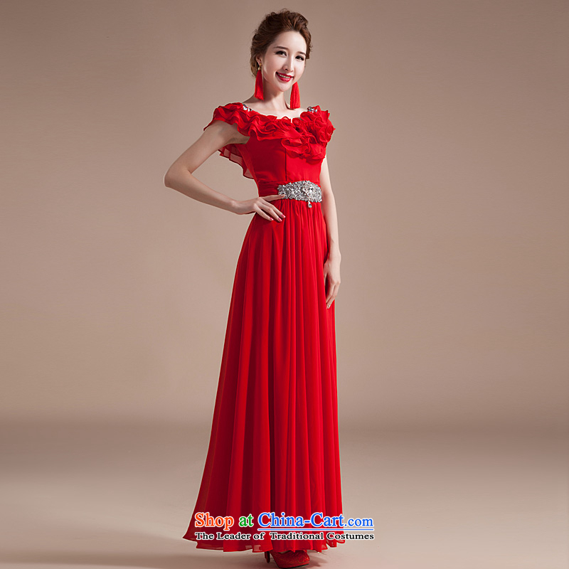 Ho Man new chamber spring and fall 2015 Korean billowy flounces larger female Red Snow woven dresses long annual dress red?XL