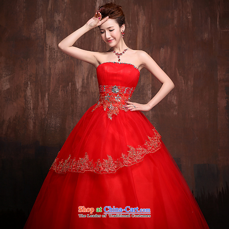 Wedding dresses 2015 new stylish wedding to align the bride flash drill lace straps princess bon bon skirt red red?XL