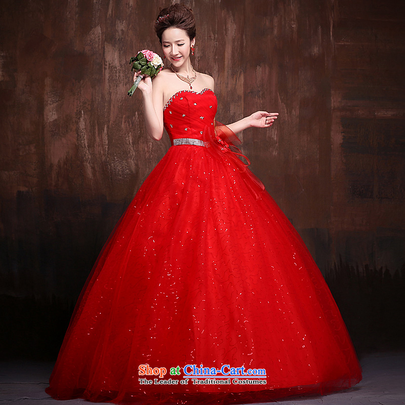 Ho full Chamber wedding dresses 2015 new alignment with Chest Flower Video Super Star thin stylish wedding red tie RED?M