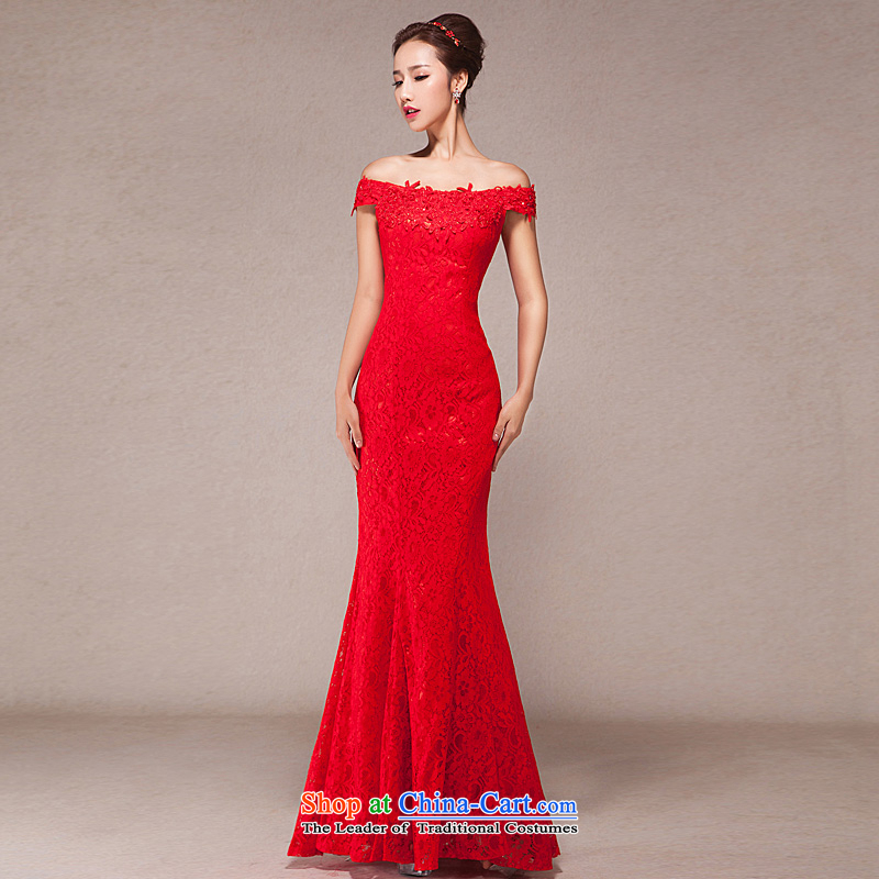 One word bows bride shoulder length of wedding dress new spring 2015 Korean modern red dress skirt red?S