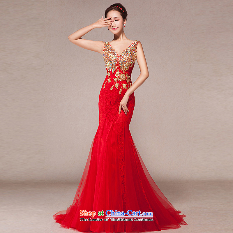 Evening dress new bows services 2015 annual spring dress shoulders Sau San crowsfoot marriages long gown tail XL