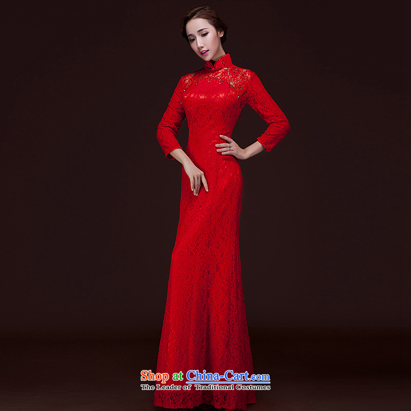 Toasting champagne bride services red wedding dress long Sau San crowsfoot long-sleeved lace cheongsam dress banquet annual courtesy etiquette evening dresses winter 7 Cuff?S