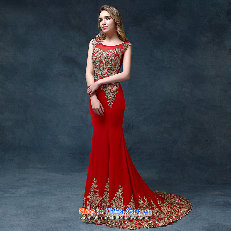 According to Lin Sha wedding dresses聽2015 new bride services of bows tail evening dresses marriage crowsfoot dress Sau San Red聽S