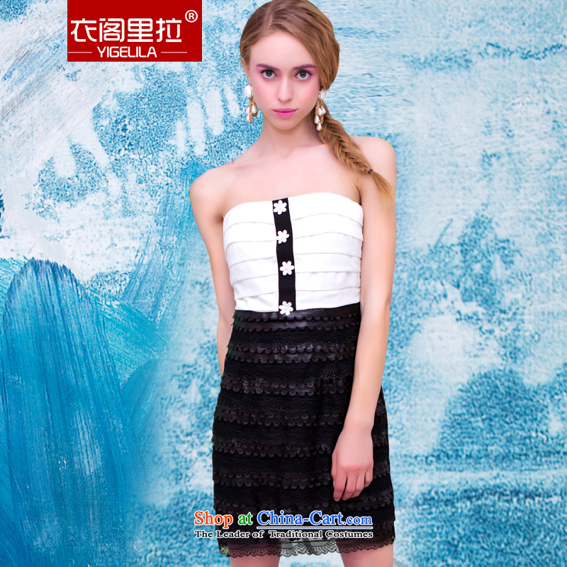 Yi Ge lire aristocratic ladies black and white color wrapped chest package knocked and Sau San video lace dresses thin dresses white 61003 S