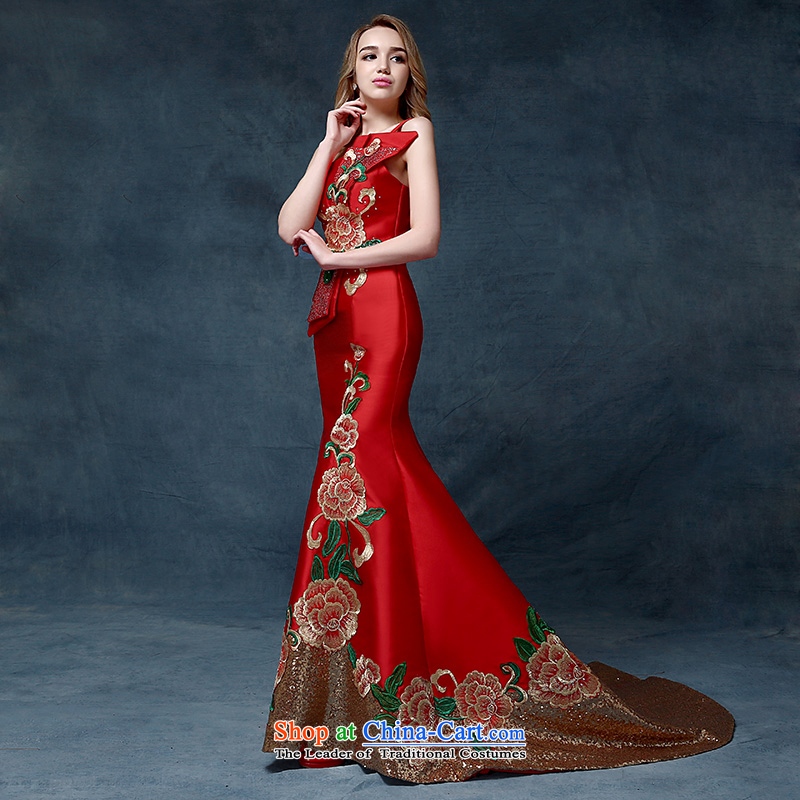 According to Lin Sha 2015 new shoulder embroidery dress China wind crowsfoot bows services will preside over the high-end toasting champagne evening dress uniform China wind speech are Code Red