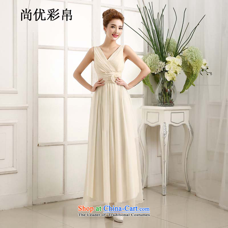 There is also a grand new optimized marriages bows dress Top Loin shoulders v-neck bridesmaid dress long evening dress code are champagne color mz5540