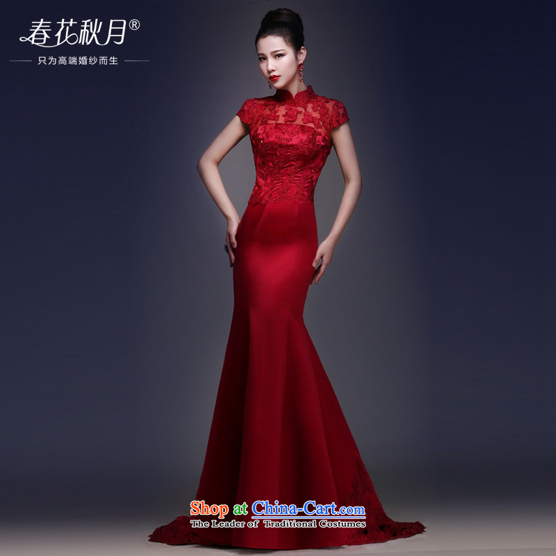 Wedding dress Bridal Services dress bows 2015 New Long Marriage retro Sau San tail crowsfoot star red S