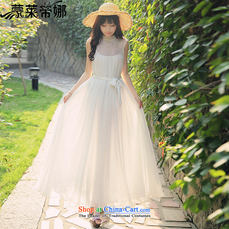 The 2015 Dili Blair Monrovia Korean staples the Pearl River Delta Water Quality fairies posted drill Sau San on beach long skirt summer gown skirt (ACP) White�S