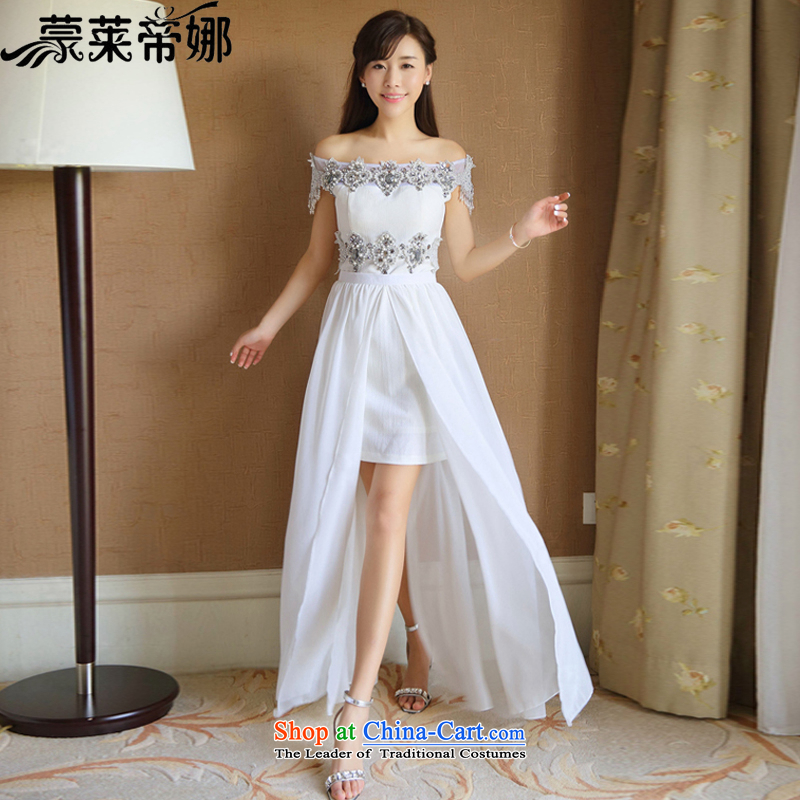 The Korea Economic, Dili drill nail pearl diamond dresses Korean short of heart-ngai same aristocratic dress skirt summer long skirt 6048 White?S