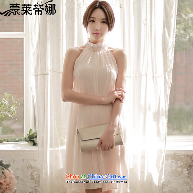 The Korea Economic, Dili version 2015 Summer new dresses larger diamond round-neck collar A loose sleeveless chiffon in long dresses, school pink?XL