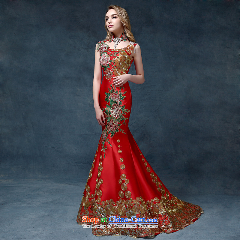 According to Lin Sha 2015 new upscale crowsfoot evening dresses red tail qipao married women serving Chinese will drink tail) are Code Red