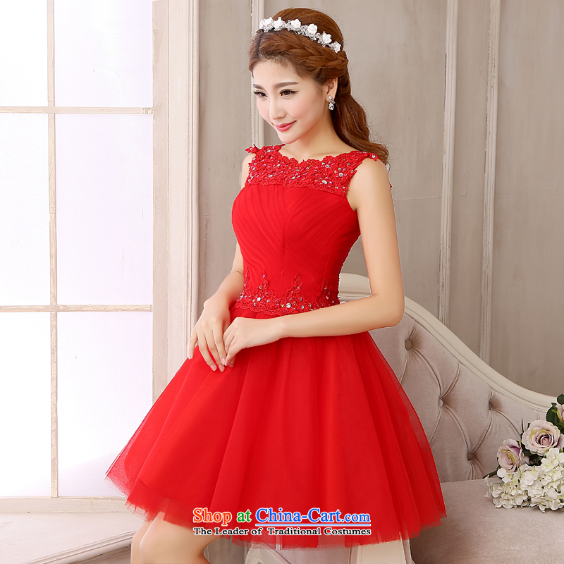 The first white into about?2015 new short, bon bon skirt red bows Service Bridal replacing lace wedding dress short skirt_ Red Red?M