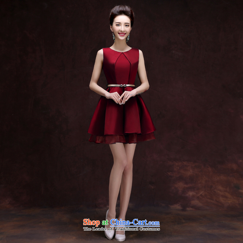 The privilege of serving the autumn 2015-leung new Korean short, wedding dresses skirts small dresses summer bridesmaid sister in serving wine red?2XL