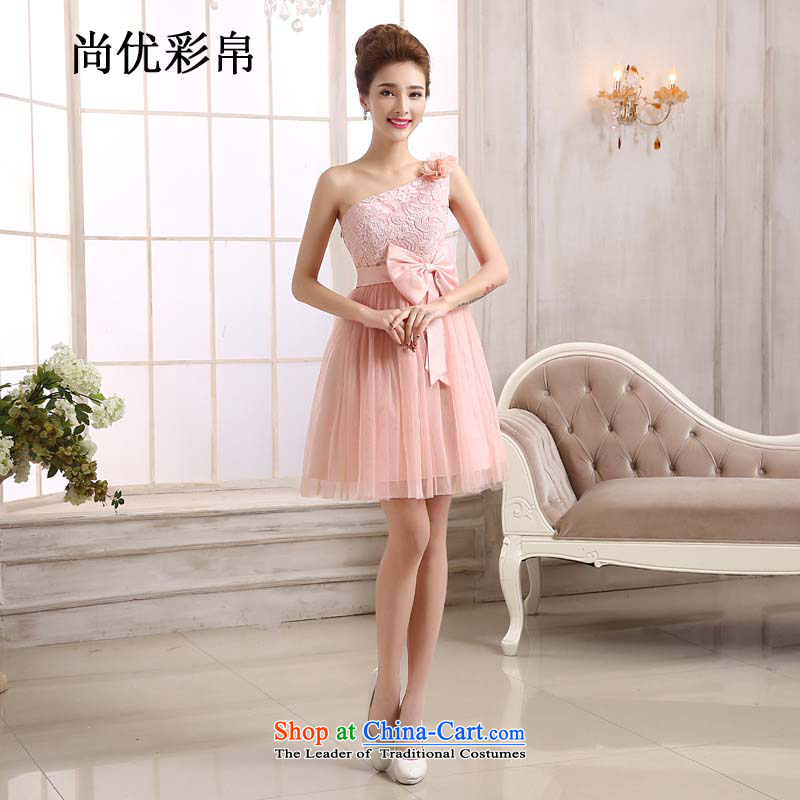 There is also optimized 8D bridesmaid mission small dress import lace shoulder short skirts, sister bride bon bon skirt mz9997 pink are code