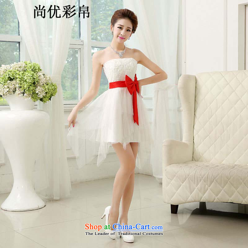 There is also optimized 8D bride wedding dress rammed a Bow Tie short of color and Chest dinner drink service bridesmaid dress new white are code mz5554