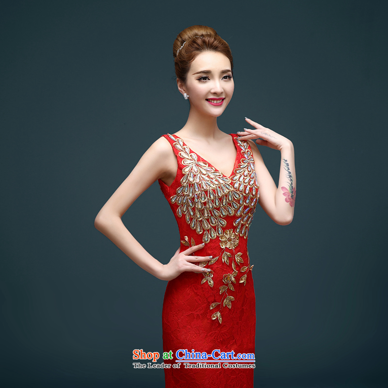 The first white into about bows Service Bridal Fashion New Spring 2015) red long crowsfoot wedding dress banquet Sau San evening dress spring red?L