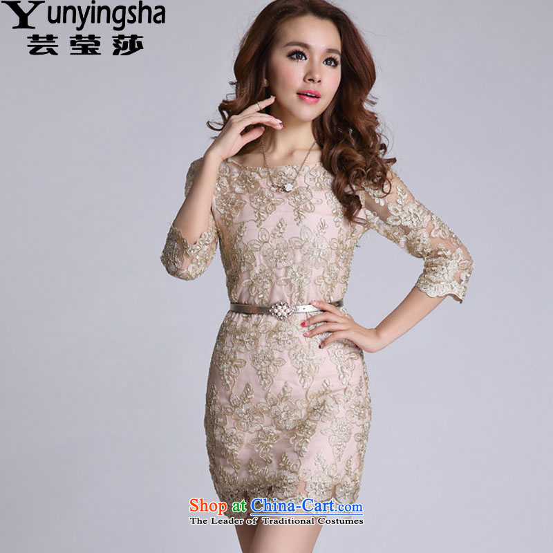 Yun-ying sa 2015 Autumn new dresses in Sau San cuff dress skirts L9138 GOLD M