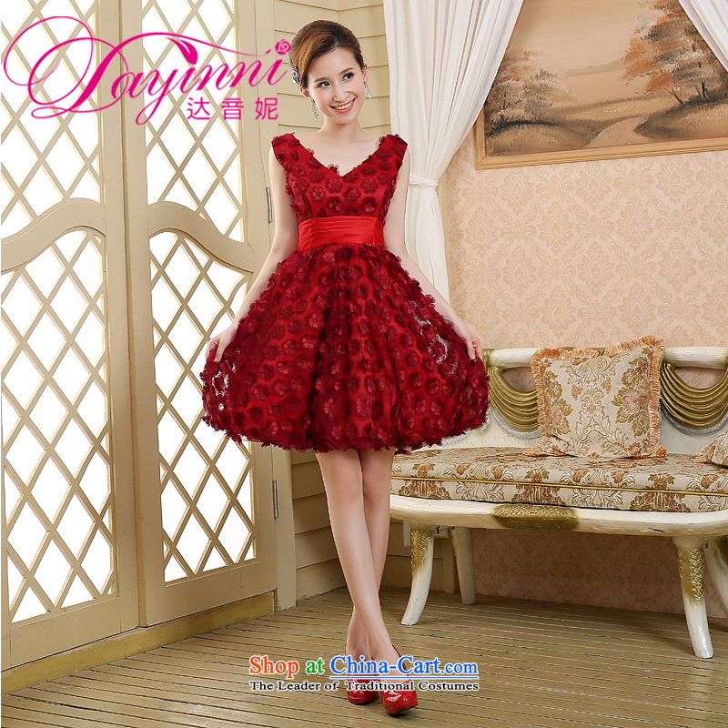 2015 new red long marriages bows dress thin dress Sau San video anointed chest shoulders pregnant women, dark red�L