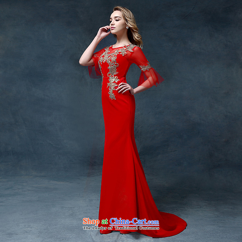 According to Lin Sha wedding dresses crowsfoot retro marriages bows service long-sleeved small trailing banquet evening dresses 2015 New Red?S
