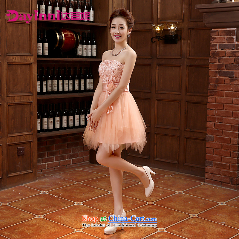 Spring 2015 new dresses bows service, Korean and chest straps Sau San Banquet Hosted Services orange?XL