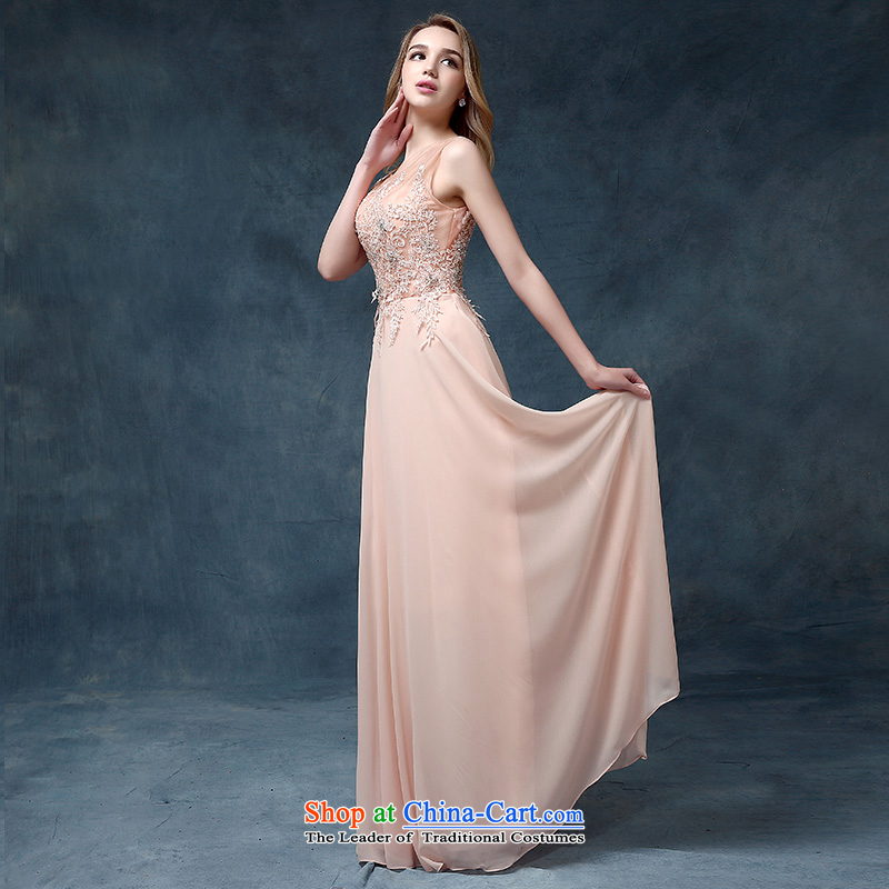 According to Lin Sha 2015 new shoulders bridesmaid pink dresses marriages bows service long gown banquet evening dresses pink?XL