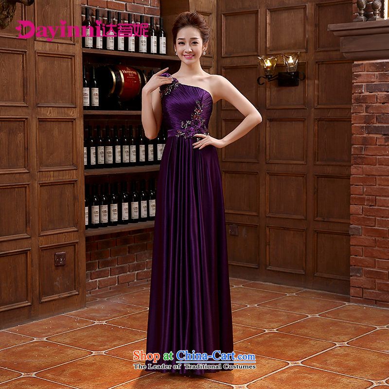 Bridesmaid dress long skirt tie bows Korean wedding dresses emulation silk chiffon Sau San purple XL