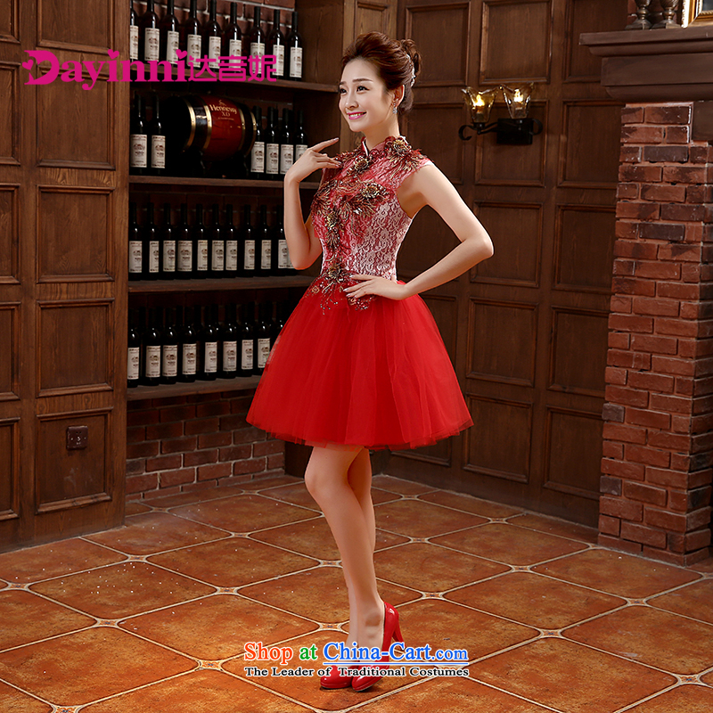2015 new marriage small Dress Short of Annual Gala bridesmaid services moderator female Korean skirt bows services during the spring and autumn red?L