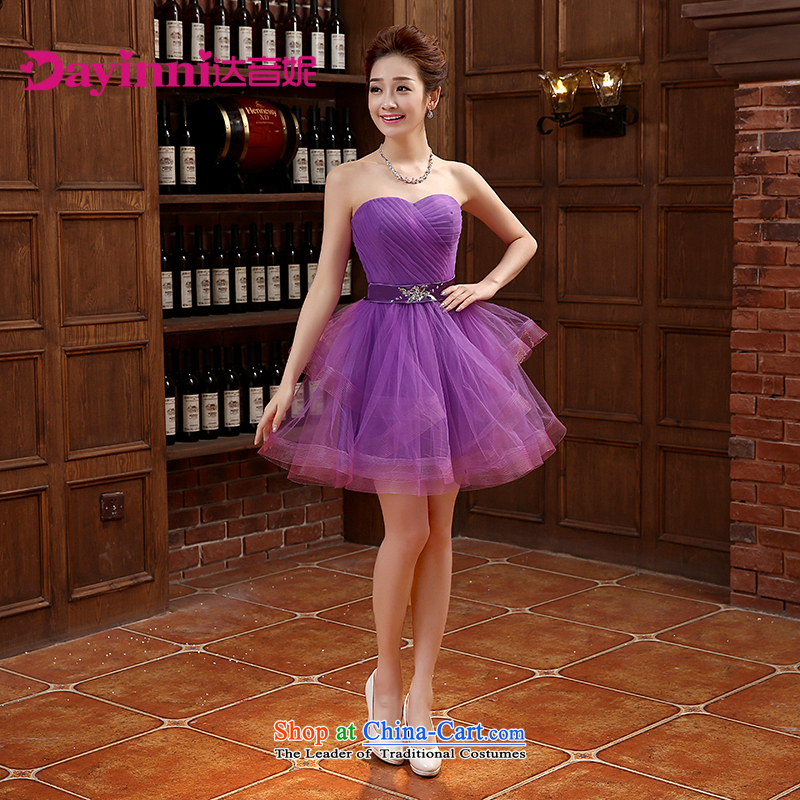 ?2015 Spring bridesmaid dress new dress short of banquet Korean bridesmaid skirt thin bridesmaid services video purple?L