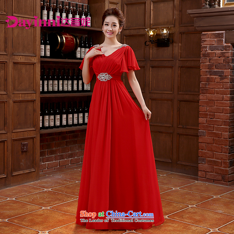 However Service Bridal Fashion 2015 new shoulders V-Neck evening dress long gown bows Service Bridal wedding dress red?L